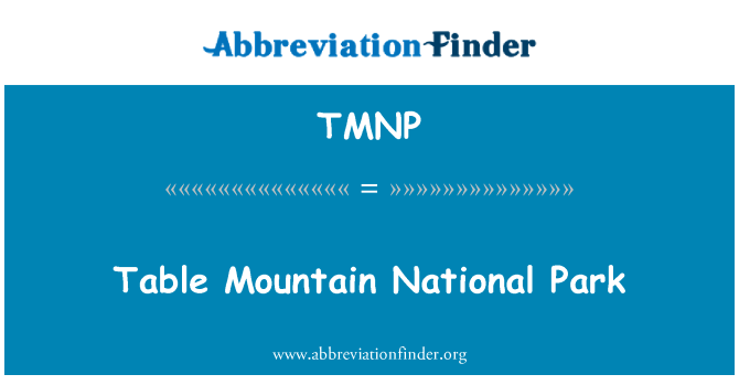 TMNP: Table Mountain National Park