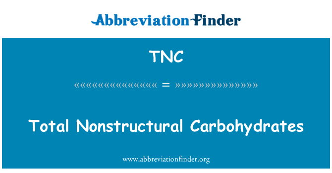 TNC: Total Nonstructural Carbohydrates