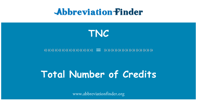 TNC: Total Number of Credits