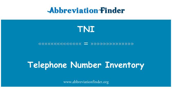 TNI: Telephone Number Inventory
