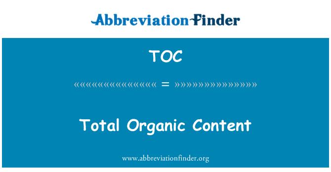TOC: Total Organic Content