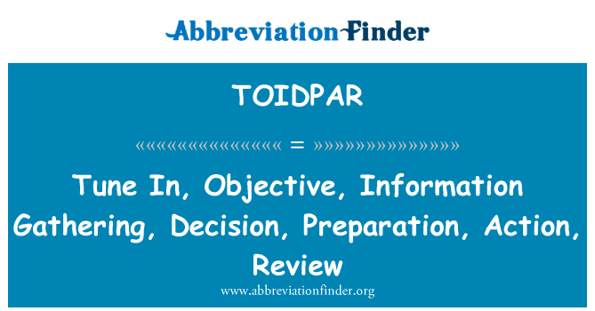 TOIDPAR: Tune In, Objective, Information Gathering, Decision, Preparation, Action, Review