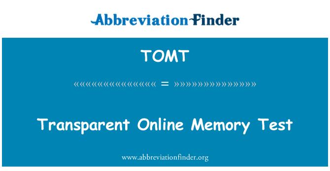 TOMT: Transparent Online Memory Test