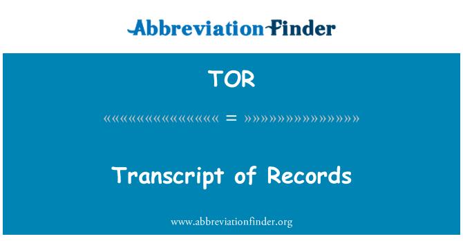 TOR: Transcript of Records