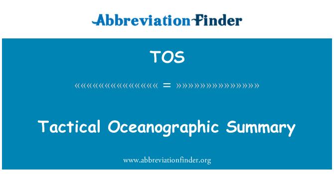 TOS: Tactical Oceanographic Summary