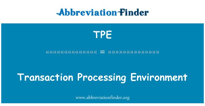 TPE: Transaction Processing Environment