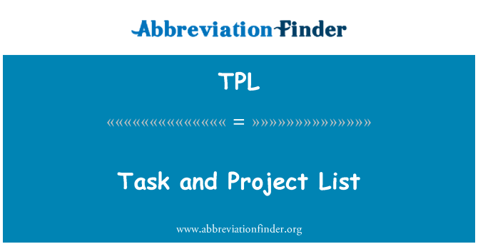 TPL: Task and Project List