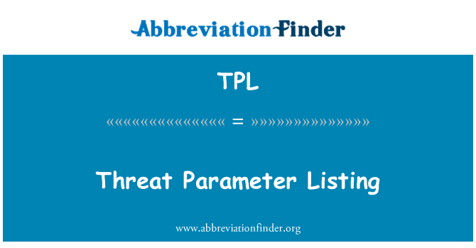 TPL: Threat Parameter Listing