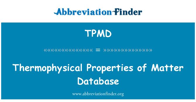 TPMD: Thermophysical egenskaper i fråga databas