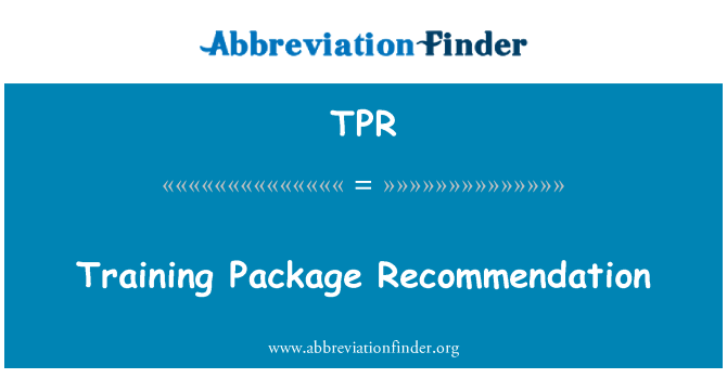 TPR: Training Package Recommendation