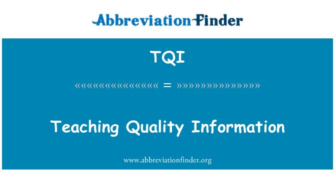 TQI: Teaching Quality Information
