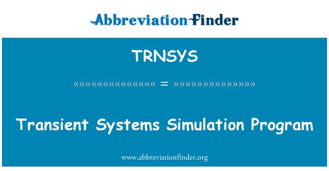 TRNSYS: Transient Systems Simulation Program