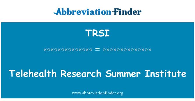 TRSI: Instituto de verano de investigación de telesalud