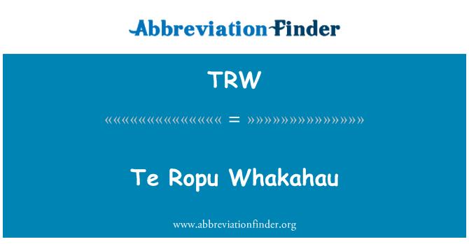 TRW: Te Ropu Whakahau