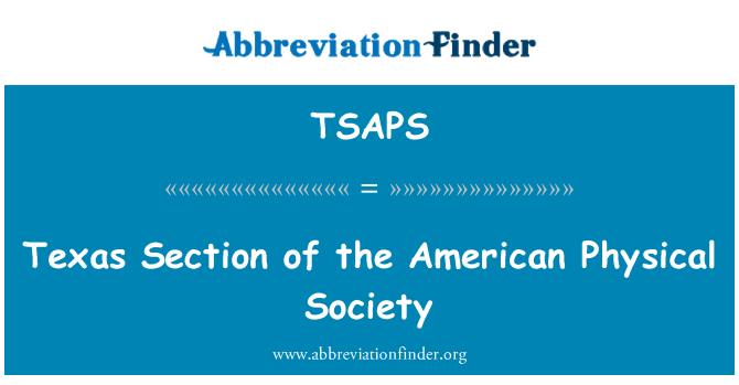 TSAPS: Τέξας τμήμα της αμερικανικής εταιρείας φυσικής