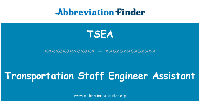 TSEA: Transportation Staff Engineer Assistant