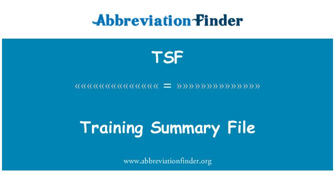 TSF: Training Summary File