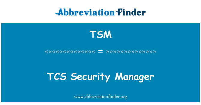 TSM: TCS Security Manager