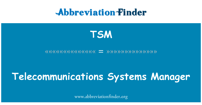 TSM: Telecommunications Systems Manager