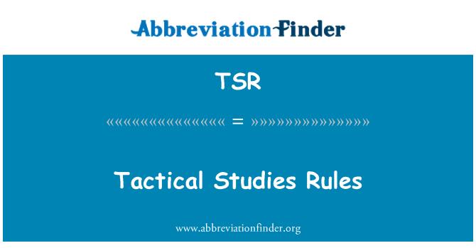 TSR: Tactical Studies Rules