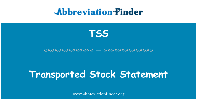 TSS: Transported Stock Statement