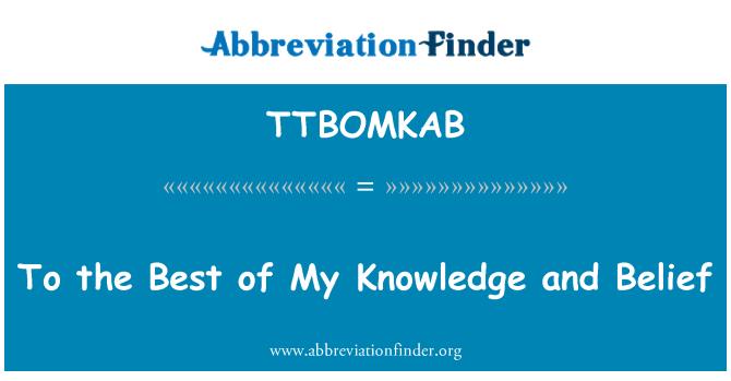 TTBOMKAB: Potser del meu coneixement i creença