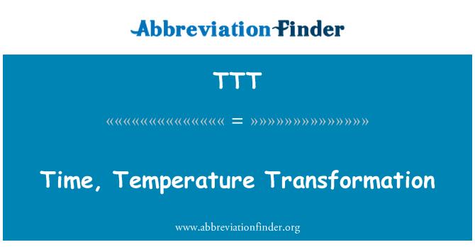 TTT: Time, Temperature Transformation