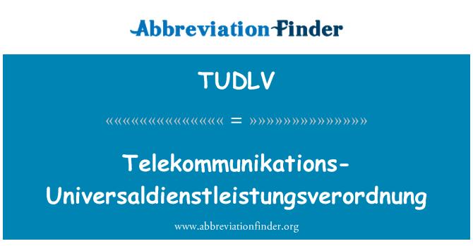 TUDLV: Telekommunikations-Universaldienstleistungsverordnung