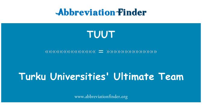 TUUT: Turku Universities' Ultimate Team