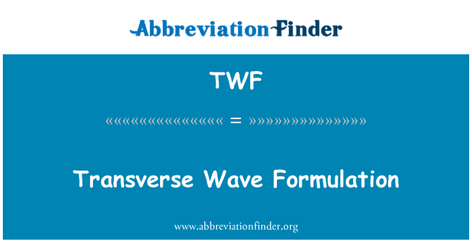 TWF: Transverse Wave Formulation