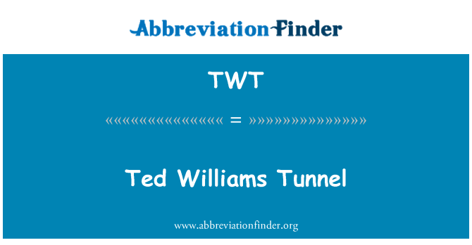 TWT: Ted Williams Tunnel