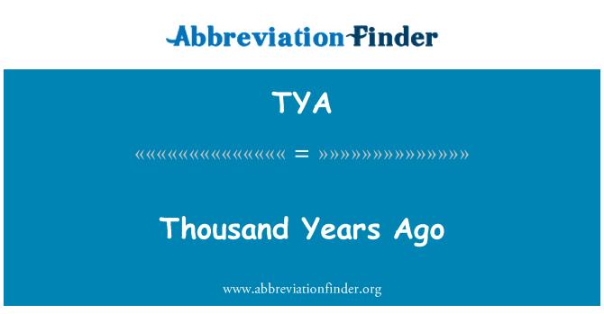 TYA: Thousand Years Ago