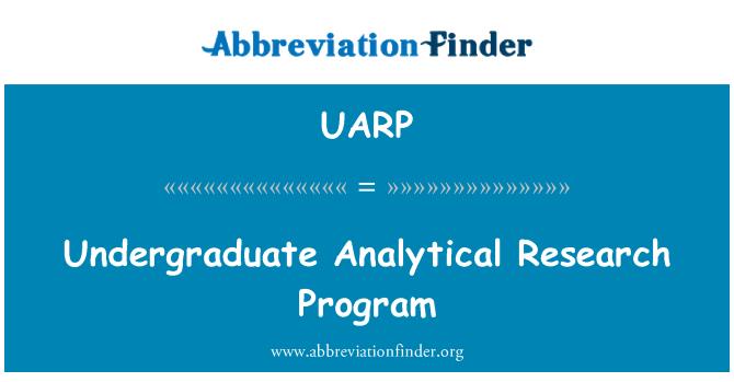 UARP: Lisans analitik araştırma programı