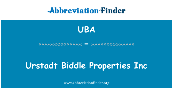 UBA: Urstadt Biddle Properties Inc.