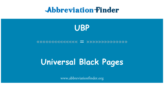 UBP: Universal Black Pages