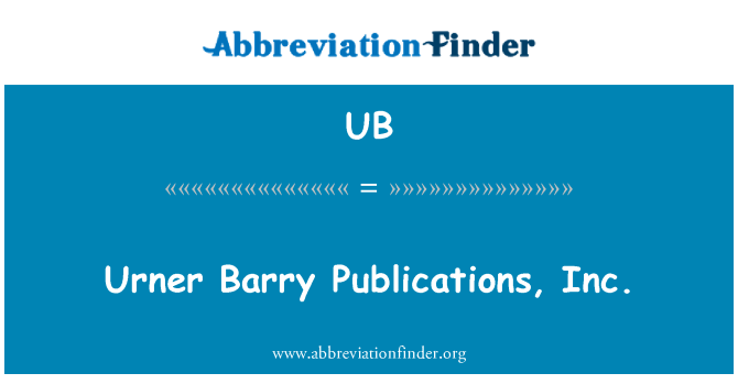 UB: Urner Barry Publications, Inc.
