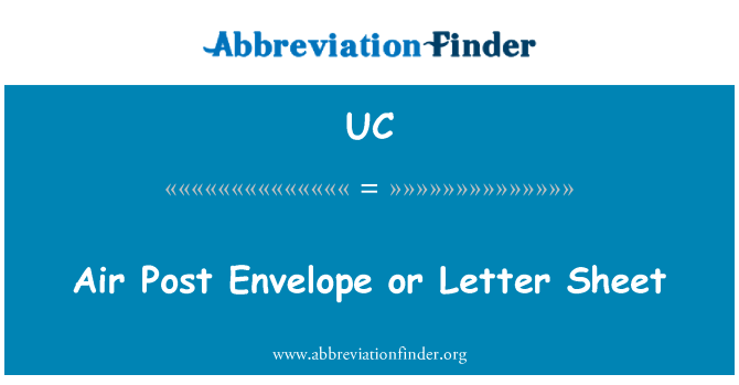 UC: Air Post Envelope or Letter Sheet