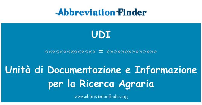 UDI: Unità di Documentazione e Informazione per la Ricerca Agraria