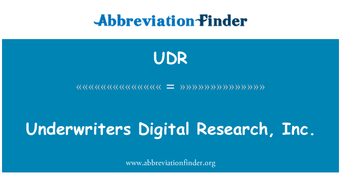 UDR: Underwriters Digital Research, Inc.