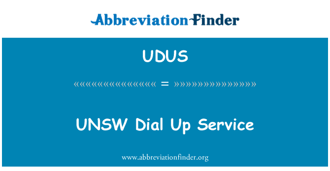 UDUS: UNSW Dial Up Service