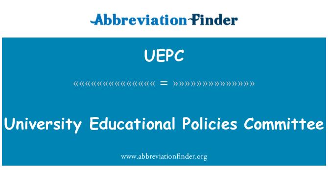 UEPC: University Educational Policies Committee