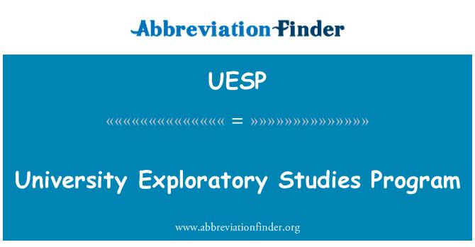 UESP: University Exploratory Studies Program
