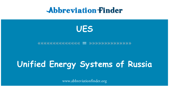 UES: Unified Energy Systems of Russia
