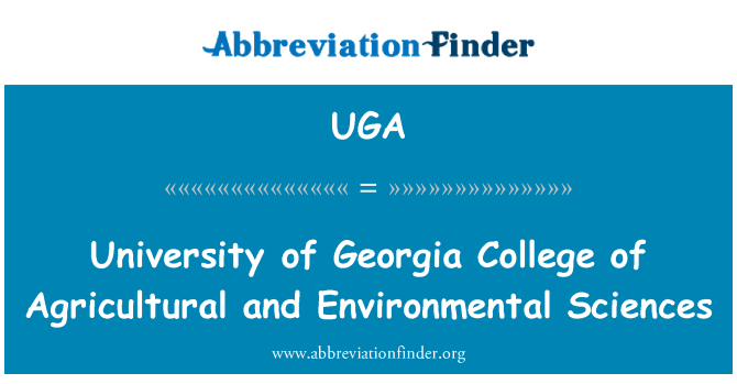 UGA: University of Georgia College of Agricultural and Environmental Sciences