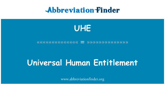 UHE: Universal Human Entitlement