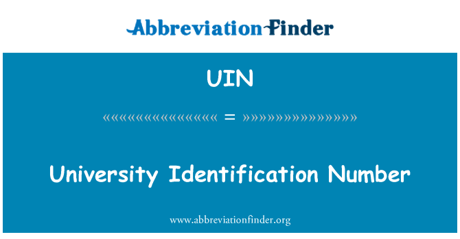 UIN: University Identification Number