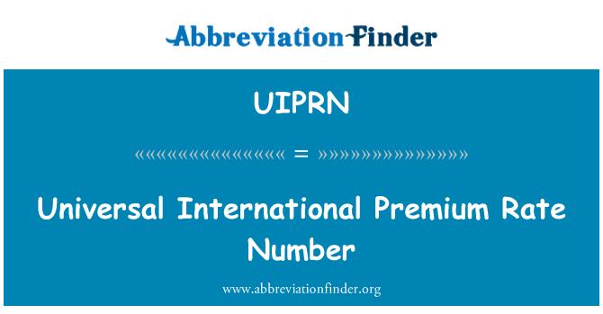 UIPRN: Universal International Premium Rate Number