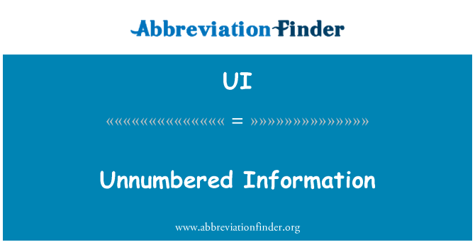 UI: Unnumbered Information