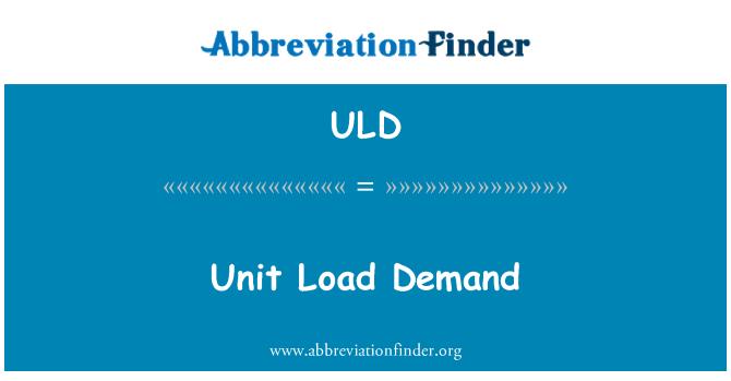 ULD: Birim yük talep