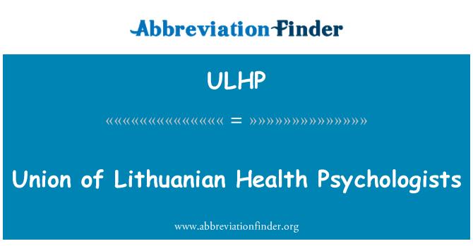 ULHP: Union of Lithuanian Health Psychologists